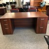 National Cherry Double Pedestal Desk/Credenza Set