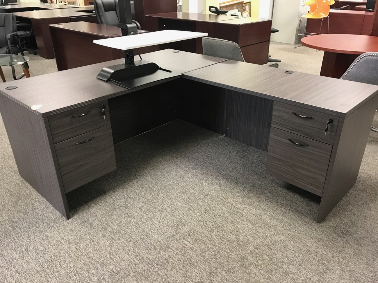 Slate Gray L Shaped Desk