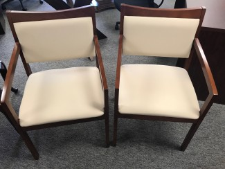 Dark Cherry Side Chairs with Light Beige Upholstery