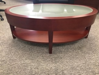 Cherry Coffee Table with Frosted Glass