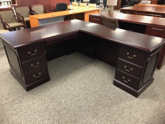 Dark Mahogany Traditional L-Shaped Desk