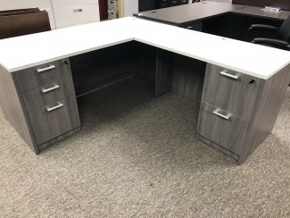 White Top/Gray Shell L-Shaped Desk