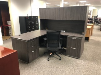 Slate Grey L-Shaped Desk with Hutch