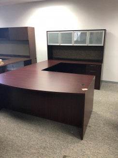 Mahogany U-Shaped Desk w/ Overhead Hutch
