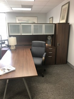 Modern Walnut Desk with Hutch and Storage