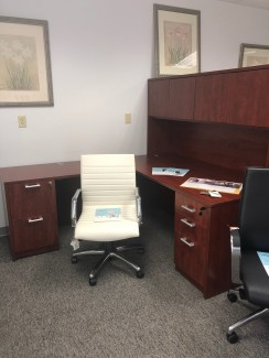 Cherry Compel L-Shaped Desk with Hutch