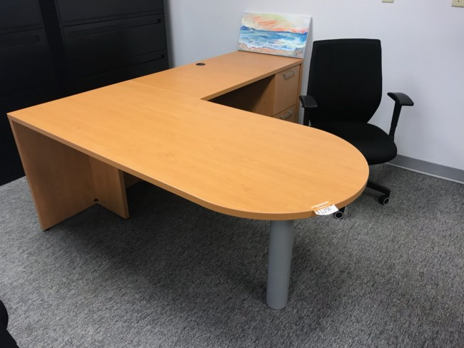 National Honey L-Shaped Desk
