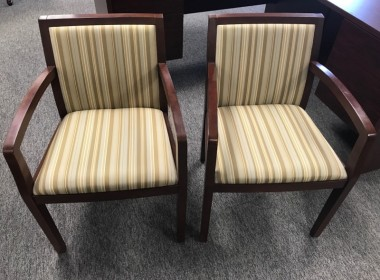 Mahogany Framed Side Chairs with Patterned Upholstery