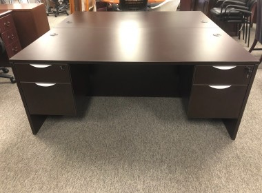Espresso Double Pedestal Desk