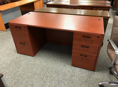 Light Cherry Double Pedestal Desk