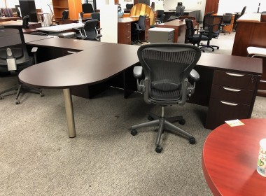 Espresso P-Top L-Shaped Desk