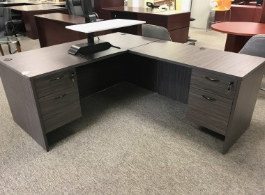 Slate Gray L-Shaped Desk