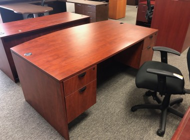 Cherry Bow Front Double Pedestal Desk