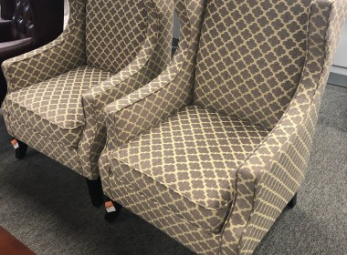Grey Pattern Wing Back Chairs