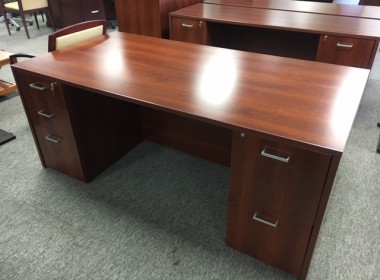 Indiana Cherry Double Pedestal Desk